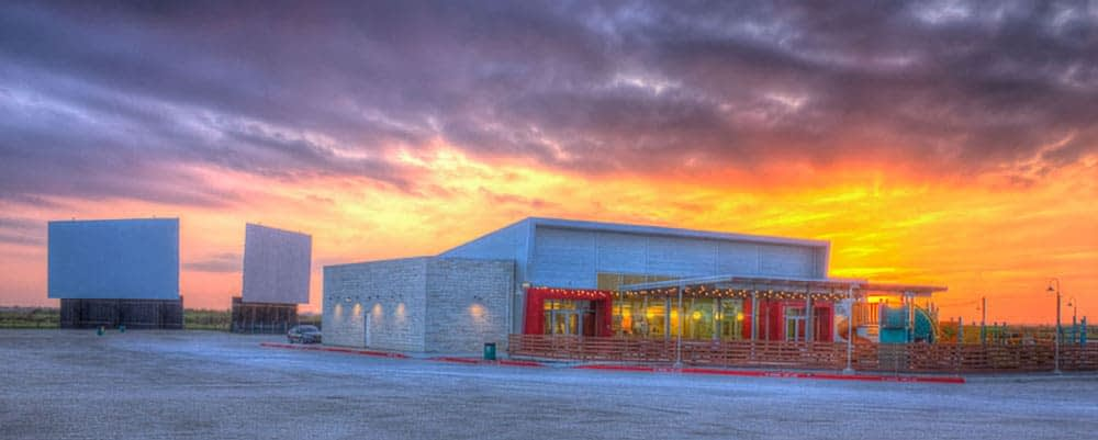 exterior picture of stars and stripes drive in at New Braunfels, TX