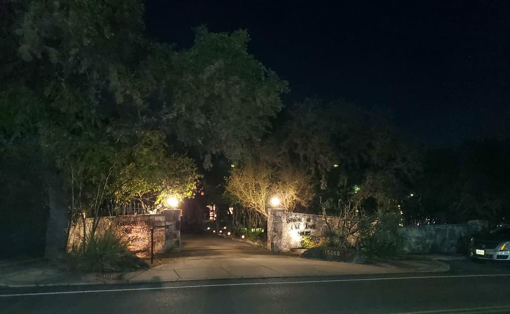 Gardens at Old Town Helotes are Haunted entrance
