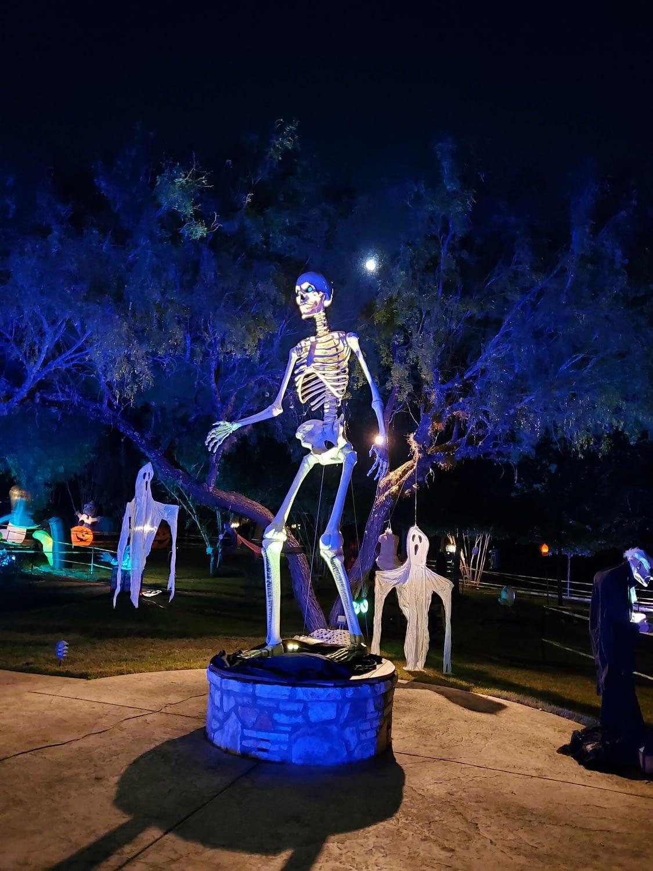 huge skeleton on a platform at night